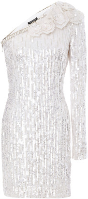 Balmain One-shoulder Floral-appliqued Sequined Tulle Mini Dress