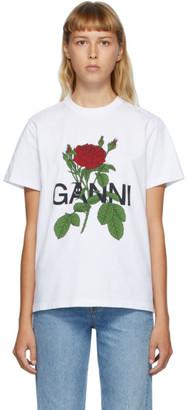 Ganni White Rose T-Shirt