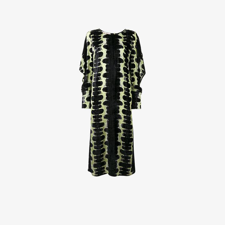 Marni onrushing shadow print devoré dress