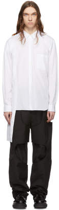 Comme des Garcons White Broad Asymmetric Double Layer Shirt