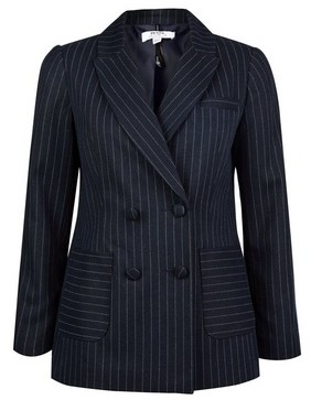 Dorothy Perkins Womens Dp Petite Navy Blue Pinstriped Blazer, Blue