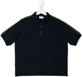 Fendi Kids Logo Stripe Polo Shirt
