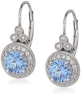 Swarovski Platinum Plated Sterling Silver Antique Drop Earrings set with Round Cut Zirconia (3.5 cttw)