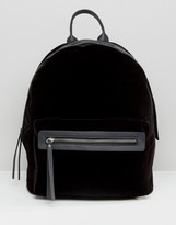 Pieces Velvet Minimal Backpack