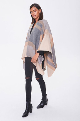 Forever 21 Plaid Whipstitched Poncho