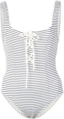 Solid & Striped Striped Lace-Up Swimsuit