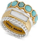 Lucky Brand Two-Tone White & Blue Stone Stack Ring