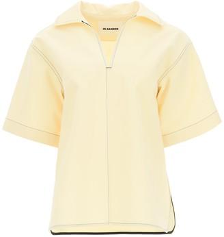 Jil Sander Contrast Stitching Oversized Shirt