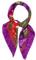 Oscar de la Renta Floral Print Silk Scarf