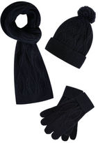 Yours Clothing BadRhino Plus Size Mens Cable Knit Hat Scarf & Gloves Set Knitted