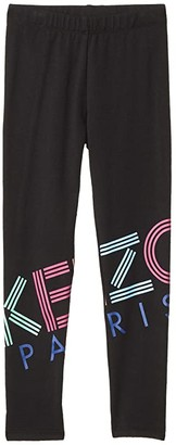 Kenzo Kids Logo Leggings (Little Kids) (Black) Girl's Casual Pants