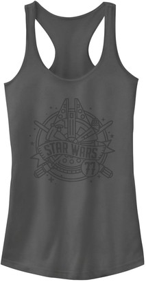 Star Wars Juniors' Millennium Falcon Line Art Banner Tank Top