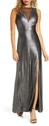 Morgan & Co. Striated Metallic Trumpet Gown