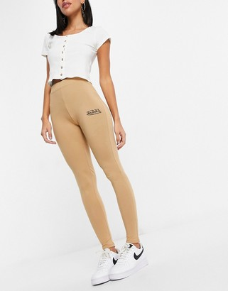Von Dutch co-ord high waisted leggings in camel