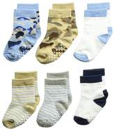 Jefferies Socks Non-Skid Camo/Stripe Crew 6-Pack Boys Shoes