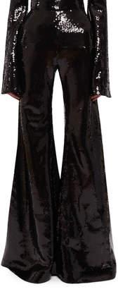 Halpern High-Waist Flared Sequin Pants