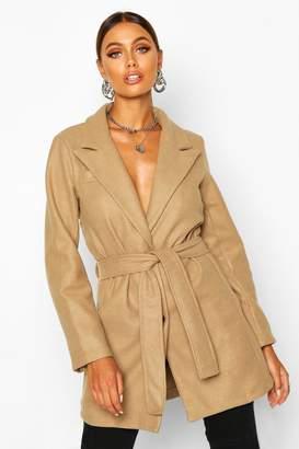 boohoo Belted Wool Look Blazer Coat