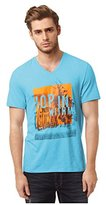 Buffalo David Bitton Men's Nisbee Short Sleeve V-Neck Beach Graphic Tee Shirt