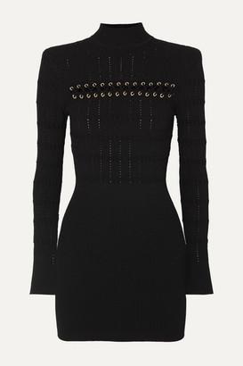 Balmain Lace-up Ribbed Pointelle-knit Mini Dress - Black