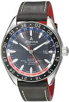 Alpina Men's 'Alpiner 4 GMT' Automatic Stainless Steel and Leather Casual Watch, Color:Black (Model: AL-550GRN5AQ6)