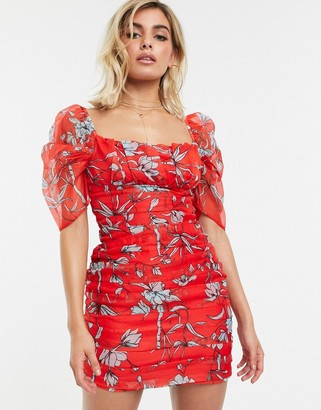 Charlie Holiday beach milkmaid dress in red floral
