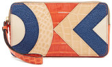 Orla Kiely Large Zip Croc Embossed Leather Applique Wallet