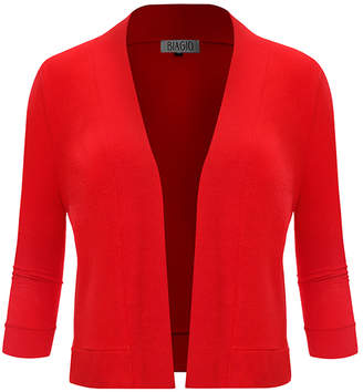 BB B+B Women's Open Cardigans RED - Red Three-Quarter Sleeve Cropped Open Cardigan - Women & Plus