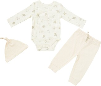 Pehr Little Lamb Organic Cotton Bodysuit, Pants & Knotted Hat Set