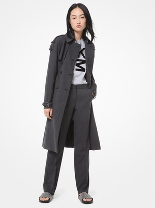 MICHAEL Michael Kors Glen Plaid Stretch-Wool Trench Coat