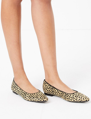 Marks and Spencer Leather Almond Toe Ballet Pumps