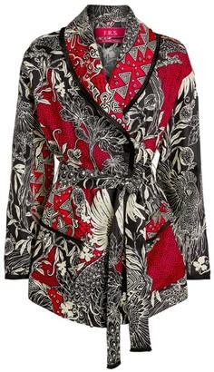 F.R.S For Restless Sleepers Leaf Print Silk Blazer