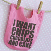 Snuglo I Want Chips Chocolate And Cake Cool Baby Bib Pink