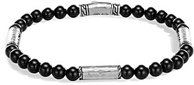 John Hardy Men's Hammered Sterling Silver Classic Chain Station and Black Onyx Bead Bracelet