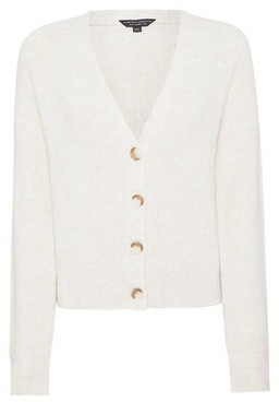Dorothy Perkins Womens Cream Button Knitted Cardigan, Cream