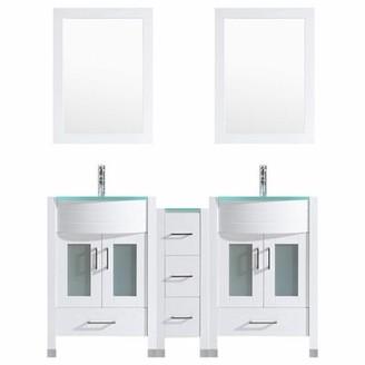 "Orren Ellis Marguez 60"" Double Bathroom Vanity Set with Wood Frame Mirror Orren Ellis Base Finish: White"