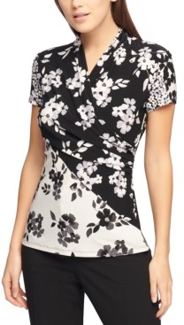 DKNY Floral Printed Side-Ruched Top