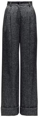 Dolce & Gabbana High-rise Wide-leg Wool-blend Trousers - Womens - Grey Multi