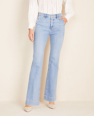 Ann Taylor Flare Sculpting Pocket Denim Trousers in Light Indigo Wash