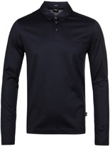 Boss Prall 05 Navy Mercerised Cotton Slim Fit Polo Shirt