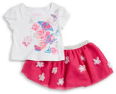 Flapdoodles Girls 2-6x Floral Tee and Tulle Skirt Set
