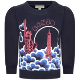 Kenzo KidsBaby Girls Navy Statue Of Liberty & Eiffel Tower Sweater