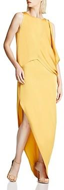 Halston Draped Asymmetric Gown