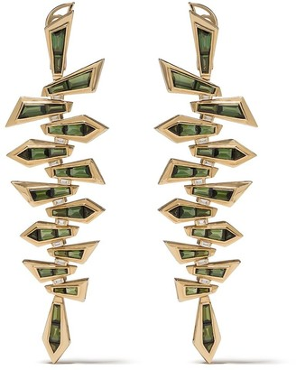 Stephen Webster 18kt yellow gold Dynamite Shattered tourmaline long earrings