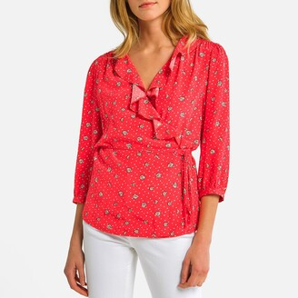 La Redoute Collections Floral Print Wrapover Blouse with 3/4 Length Sleeves