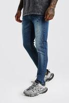 boohoo Mens Blue Skinny Paint Splat Distressed Jeans, Blue