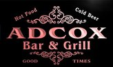 AdvPro Name u00190-r ADCOCK Family Name Bar & Grill Cold Beer Neon Light Sign