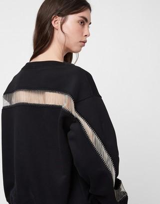 AllSaints Jaine sweatshirt with sheer panel in black