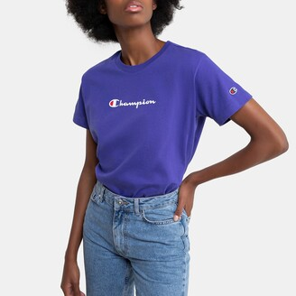 Champion Cotton Crew-Neck T-Shirt with Logo and Short Sleeves