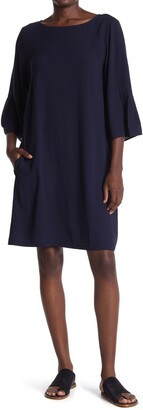 Eileen Fisher Silk Georgette Crepe Bateau Neck Dress