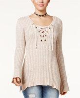 Ultra Flirt Juniors' Ribbed Bell-Sleeve Sweater